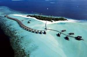 An aerial view of Cocoa Island resort in the Maldives.