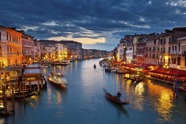 The Grand Canal at night, Venice.