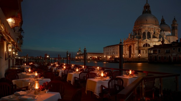 One of the best waterfront eateries: Club del Doge, Venice, Italy. Decor like Casanova's boudoir, terrace right on the ...