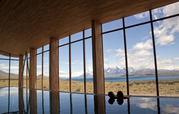The pool at Tierra Patagonia offers views of Torres del Paine national park.