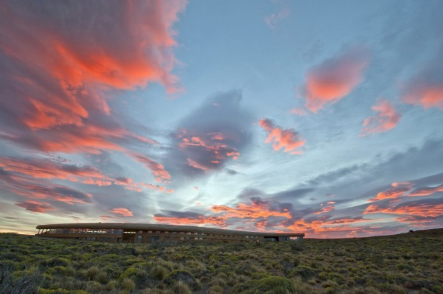Tierra Patagonia. The long, flat design of the building blends into the landscape.