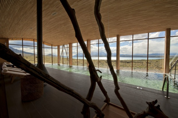 Tierra Patagonia's swimming pool and spa.
