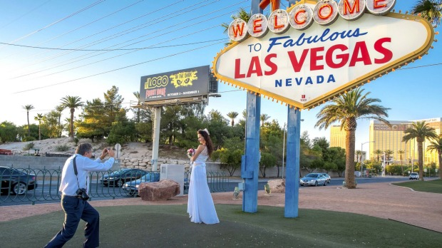 There's a bride on every block in Sin City.