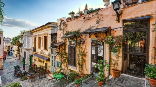A picturesque cafe of Plaka in Athens.