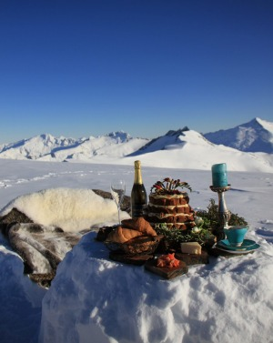 Picnic on top of a glacier in Wanaka, New Zealand.
