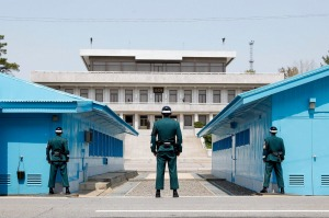 South Korean soldiers stand guard at the Military Demarcation Line in the Demilitarized Zone (DMZ) in the border village ...