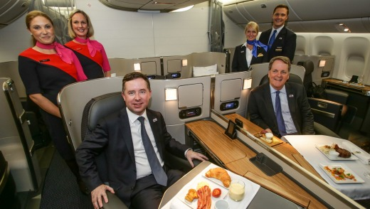 Qantas CEO Alan Joyce with American Airlines Chairman and CEO Doug Parker in First Class of the new B777-300ER aircraft.