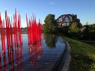"Little Rock,Arkansas. Dale Chihuly's ""red reeds"" contrasts beautifully against the old"
