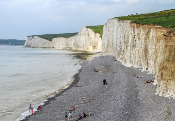 Part of the famed Seven Sisters on the south coast of England, this is Birling Gap, East Dean, East Sussex. Towering, and eroding, white chalk cliffs and the iconic pebble beach (which are really hard to walk on) it far surpasses the White Cliffs of Dover in length, access and beauty.