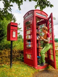 With the growth in mobile phone use , the famous red telephone box found all over the UK is being put to numerous other ...
