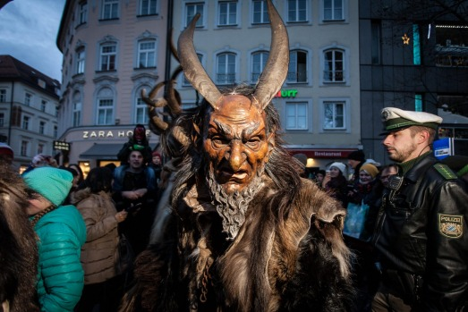 KRAMPUS, GERMANY: For most, a few stern words are enough to keep their children in check should they get a little ...