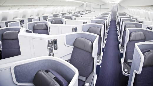 Business class on board the American Airlines Boeing 777.