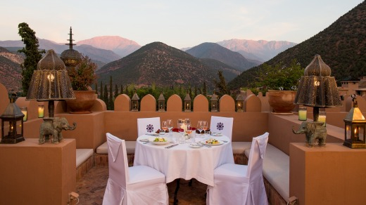 Dinner on the roof terrace at Kasbah Tamadot.