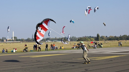 The abandoned Tempelhof airport is now popular for kiting.
