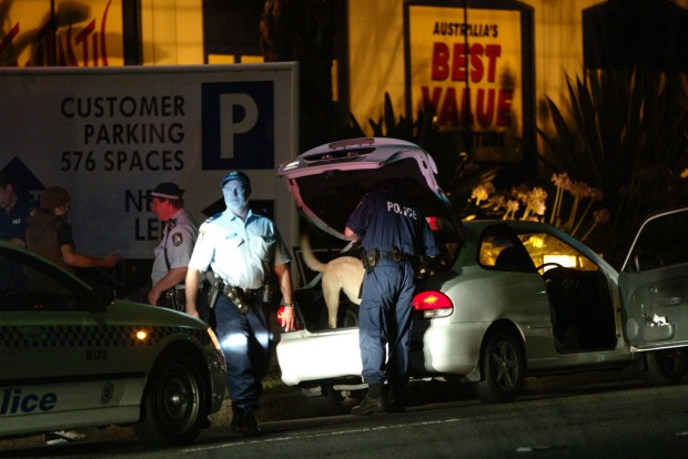 Police search a vehicle with a drug detection dog in the Cronulla area the night after the riots.