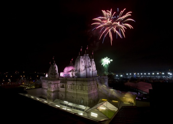 A fireworks display held near the Neasden Temple in Gibbons Park, north west London, to mark Diwali.