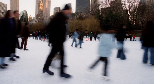 Skaters at the Wohlman Rink in New York's  Central Park.