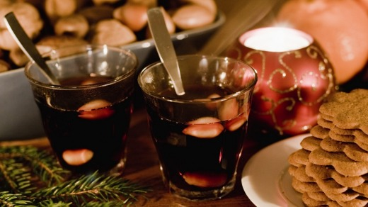 Mulled wine with gingerbread snaps - a Christmas staple in Europe.