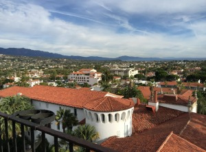 Red tiles are prominent in the view from the Courthouse lookout at Santa Barbara.