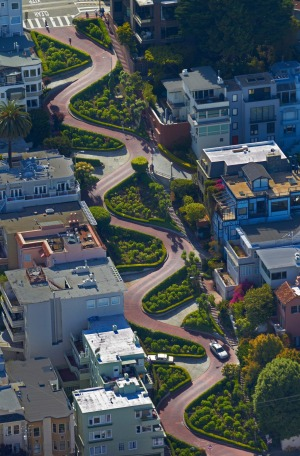 Lombard Street, which is claimed to be the world's most crooked street, in the Russian Hill neighbourhood of San Francisco.