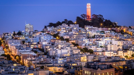 Coit Tower on Telegraph Hill above the city's skyline.