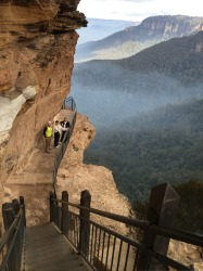 The National Pass at Wentworth Falls in the Blue Mountains NSW. A favourite walk of mine being shared by 3 friends who ...
