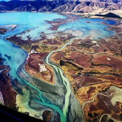 Flying from the South Island to the North of New Zealand- Blenheim to Auckland . Looking out of the window to see such a ...