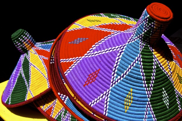 Colourful hand made serving baskets from Ethiopia.
