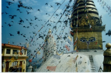 Swayambhunath Temple - or Monkey Temple - in Kathmandu, a popular tourist spot offering wonderful views of Kathmandu ...