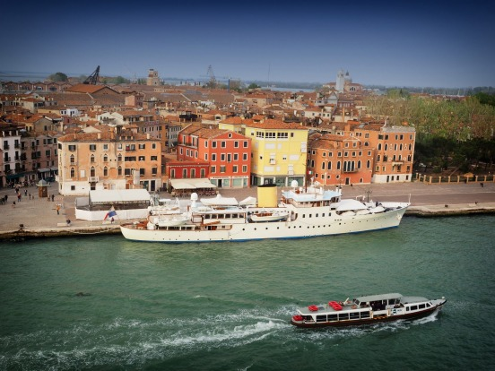 Sadly departing Venice on our cruise ship we pass some of the interesting boats that ply these waters.