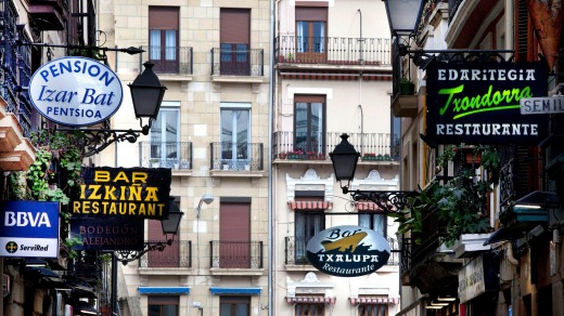 Restaurants galore: San Sebastian's old town.