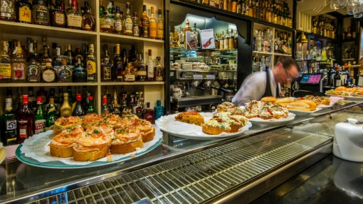 In a pintxos bar the cold dishes are laid out on the counter, but it's bad form to just help yourself.