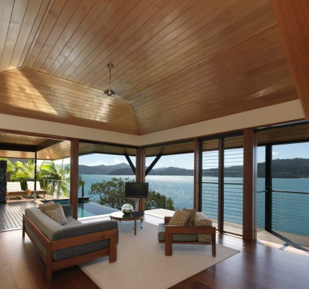 The living area of a Windward Pavilion at Qualia.