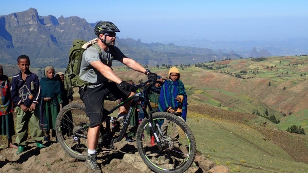 Mountain biking Ethiopia's Simien Mountains.