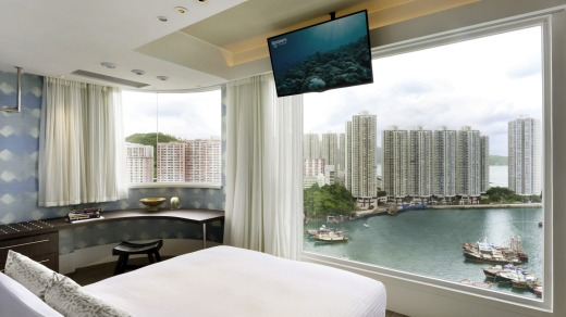 Corner Seaview suite at Ovolo Aberdeen Harbour, Hong Kong.