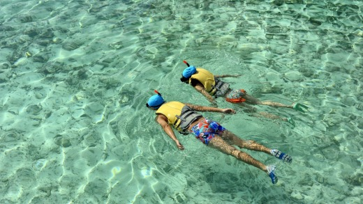 Guests snorkel off a beach near the Holiday Inn Kanduma Fushi island in the Maldives.