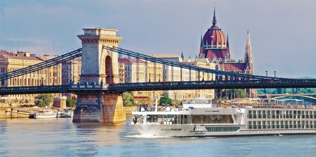 Scenic Diamond on the Danube River in Budapest.