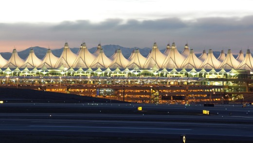 Denver airport, pitched like a row of teepees against the Rocky Mountains.