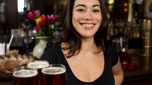 Tip for each round of drinks in the US and Canada. waiter tips burger tipping waitress istock