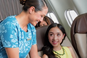 The menu on Hawaiian Airlines business class has been designed by Hawaii's chef Chai Chaowasaree.