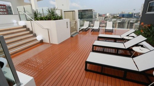 The sundeck at the Alex Perry Hotel in Brisbane.