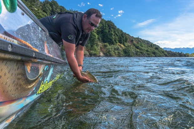 FISHING FROM A JET BOAT: Two things New Zealand does extremely well are trout fishing and jet boats. And now Fishjet in ...