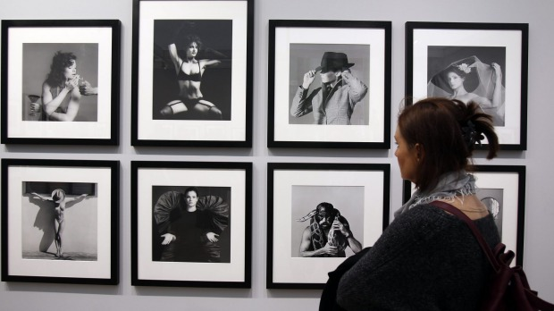 Works by photographer Robert Mapplethorpe at the Grand Palais, Paris.