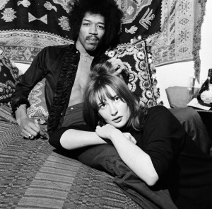 Jimi Hendrix in 1969 with girlfriend Kathy Etchingham in his Mayfair flat, London.