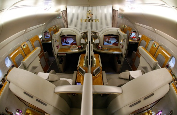 The first class cabin on an Emirates A380 superjumbo.