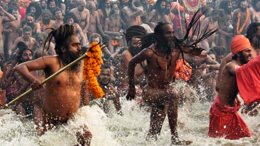 Hindu holy men at the Kumbh Mela.
