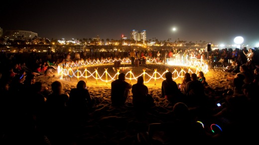 An installation on the beach at the Glow Festival.