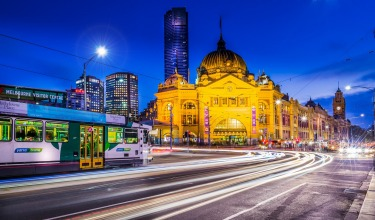 Flinders Station at blue hour.