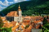 Brasov cityscape featuring the black cathedral.