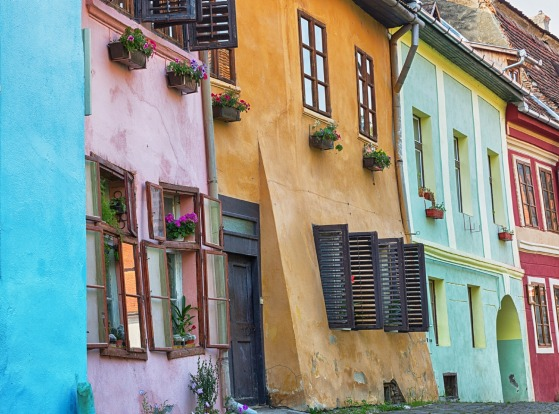 Old colourful buildings in Sighisoara, Romania.